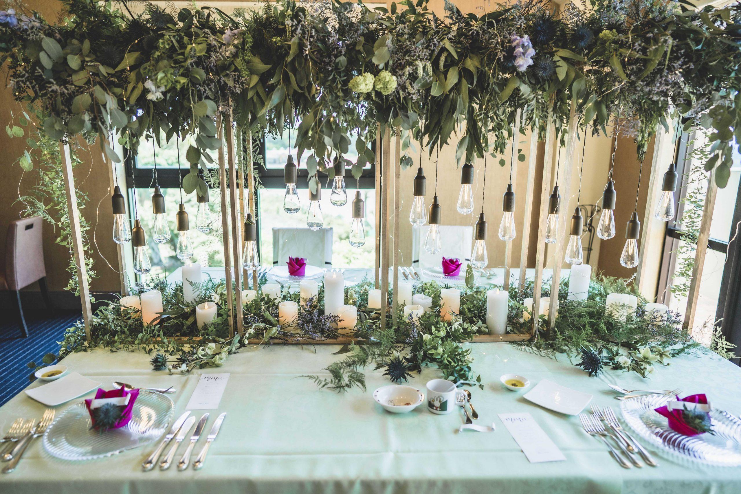 沖縄日航アリビラでの結婚式の会場装花。